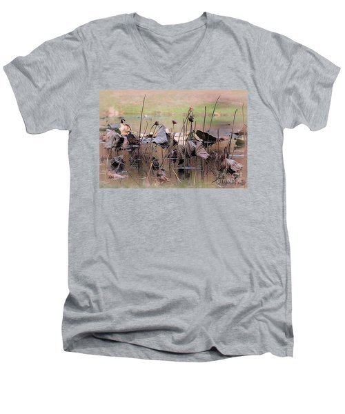 Pods At Sunset Men's V-Neck T-Shirt by Mary Lou Chmura