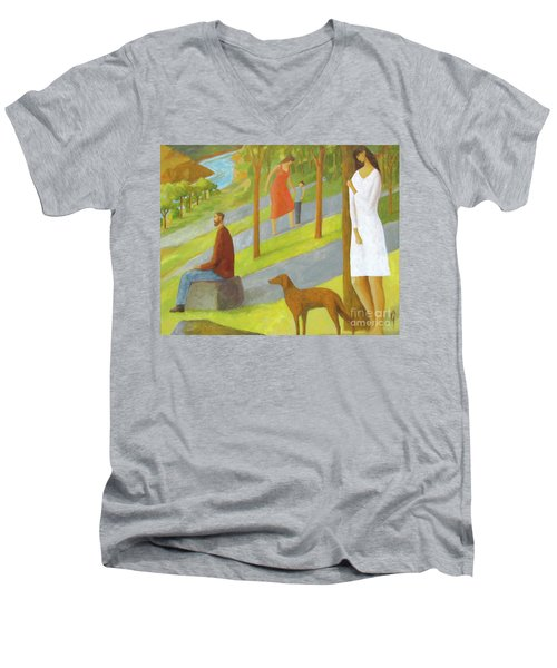 Poets Hill Men's V-Neck T-Shirt by Glenn Quist