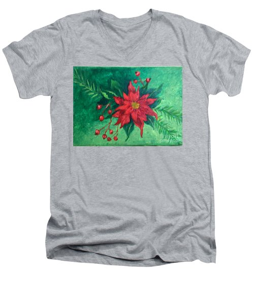 Poinsettia Men's V-Neck T-Shirt by Lucia Grilletto