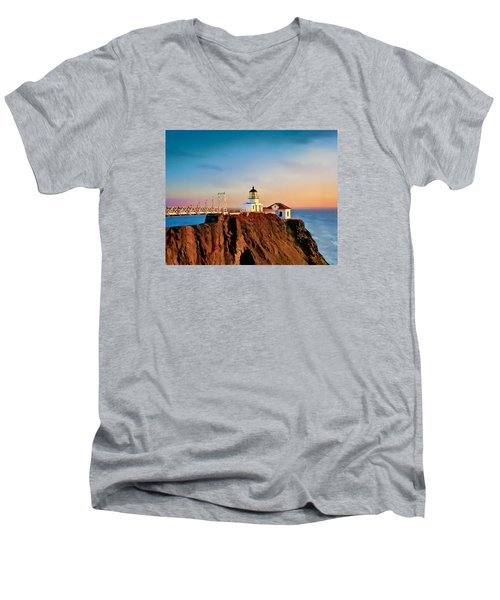 Men's V-Neck T-Shirt featuring the painting Point Bonita Lighthouse by Douglas MooreZart