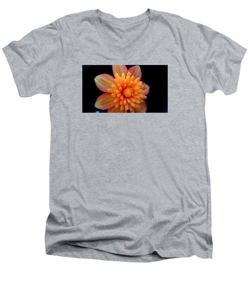 Men's V-Neck T-Shirt featuring the photograph Point Defiance Dahlia by Karen Molenaar Terrell