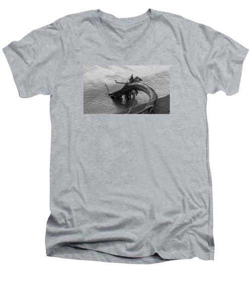 Men's V-Neck T-Shirt featuring the photograph Point Defiance Driftwood by Karen Molenaar Terrell