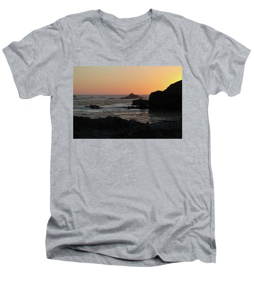 Men's V-Neck T-Shirt featuring the photograph Point Lobos Sunset by David Chandler