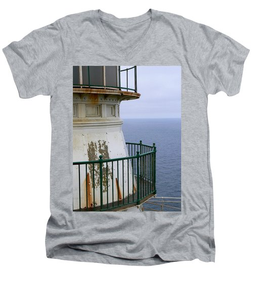 Point Reyes And The Pacific Ocean Men's V-Neck T-Shirt by Laurel Powell