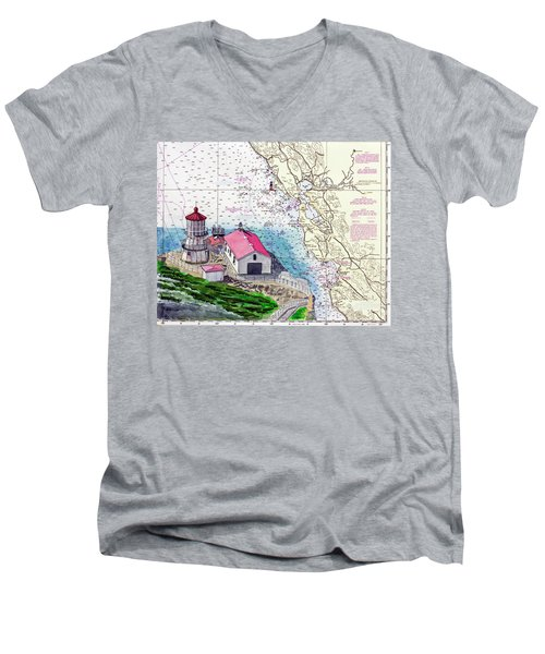 Point Reyes Light Station Men's V-Neck T-Shirt by Mike Robles