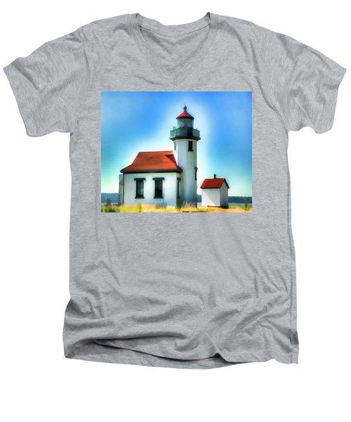 Point Robinson Lighthouse Men's V-Neck T-Shirt by Greg Sigrist