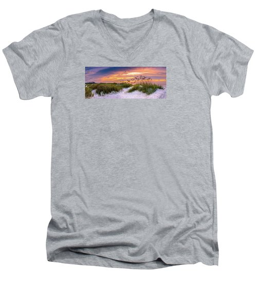 Point Sunrise Men's V-Neck T-Shirt by David Smith