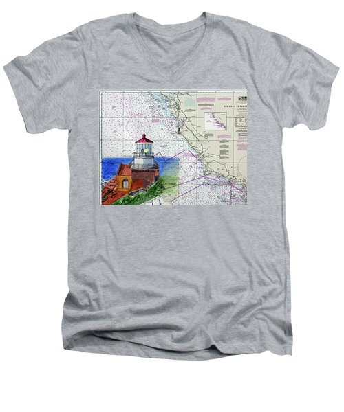 Point Sur Light Station Men's V-Neck T-Shirt by Mike Robles