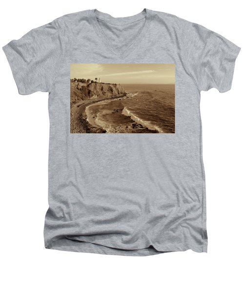 Point Vicente Lighthouse Palos Verdes California - Sepia Rendition Men's V-Neck T-Shirt