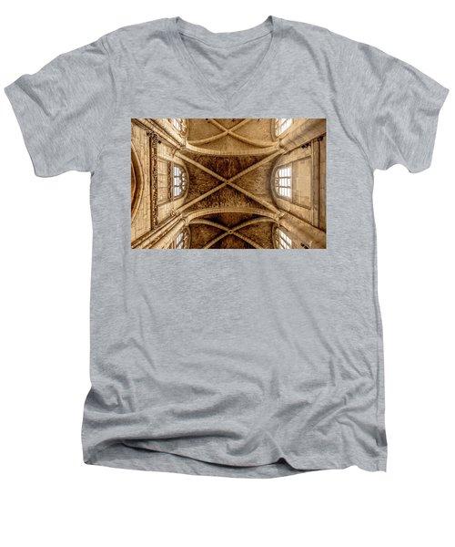 Poissy, France - Ceiling, Notre-dame De Poissy Men's V-Neck T-Shirt