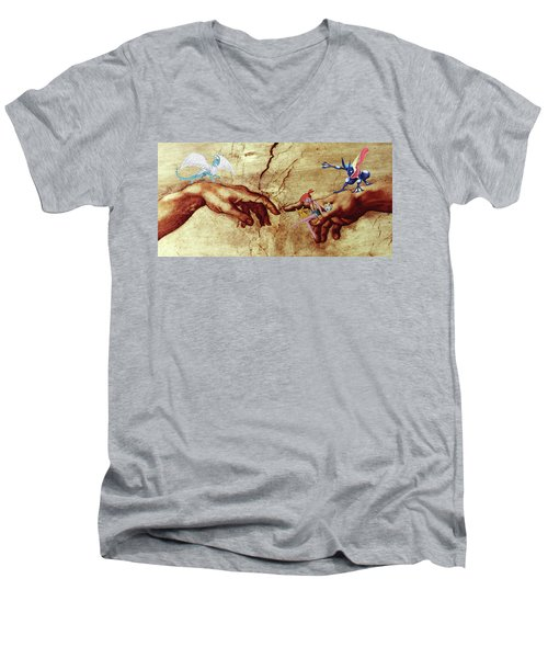 Men's V-Neck T-Shirt featuring the digital art Pokeangelo Sistine Chapel by Greg Sharpe