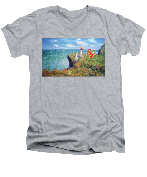 Men's V-Neck T-Shirt featuring the digital art Pokemonet Seaside by Greg Sharpe