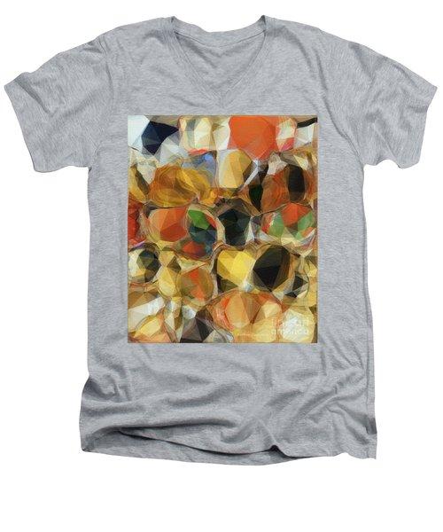 Crazy Quilt Men's V-Neck T-Shirt by Kathie Chicoine