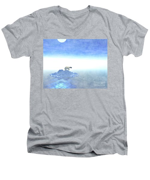 Men's V-Neck T-Shirt featuring the digital art Polar Bear On Iceberg by Phil Perkins