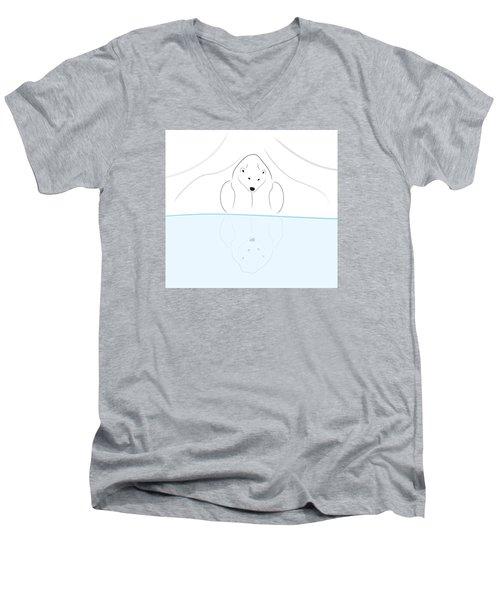 Polar Bear Reflection Men's V-Neck T-Shirt by Greg Slocum
