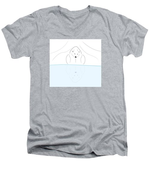 Polar Bear Reflection Men's V-Neck T-Shirt
