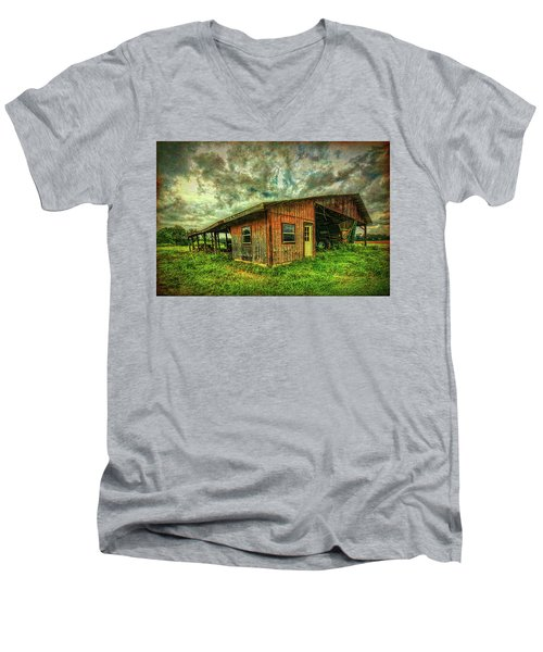 Men's V-Neck T-Shirt featuring the photograph Pole Barn by Lewis Mann