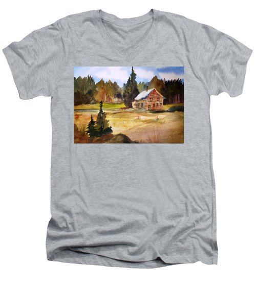 Polebridge Mt Cabin Men's V-Neck T-Shirt