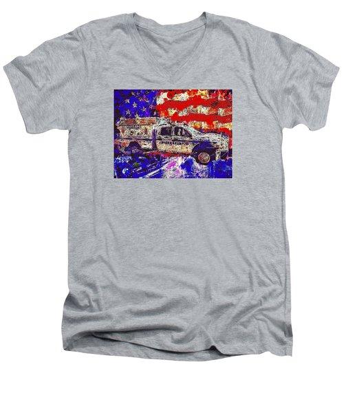 Police Truck Men's V-Neck T-Shirt