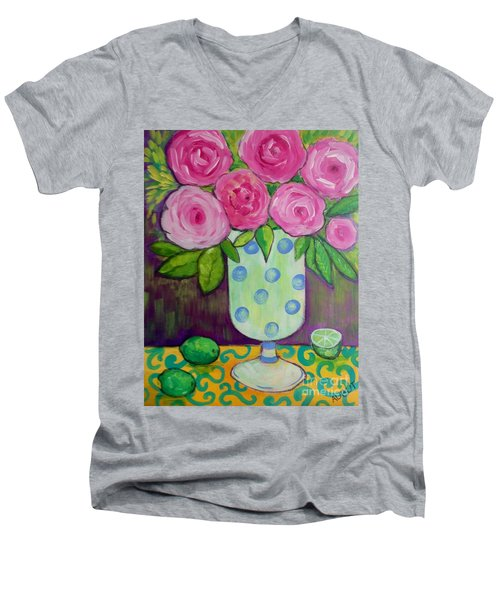 Polka-dot Vase Men's V-Neck T-Shirt