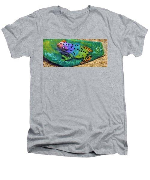 Polka-dotted Rainbow Frog Men's V-Neck T-Shirt by Ann Michelle Swadener