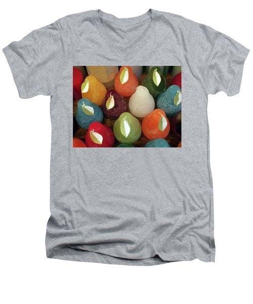 Polychromatic Pears Men's V-Neck T-Shirt