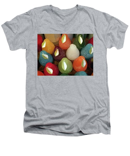 Polychromatic Pears Men's V-Neck T-Shirt