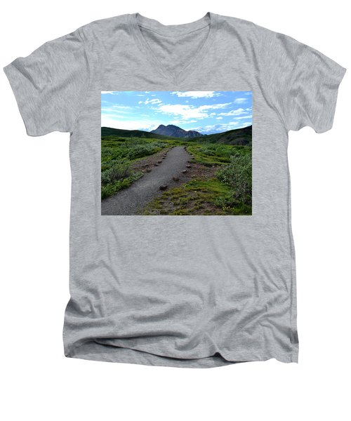 Men's V-Neck T-Shirt featuring the photograph Polychrome Pass Trail, Denali by Zawhaus Photography