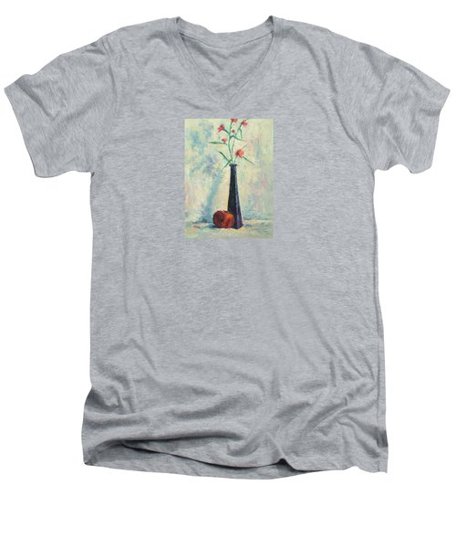 Pomegranate And Black Vase Men's V-Neck T-Shirt