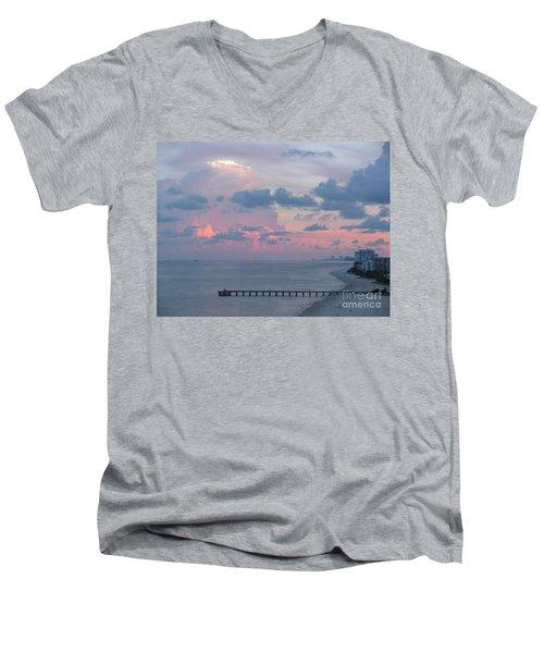 Pompano Pier At Sunset Men's V-Neck T-Shirt