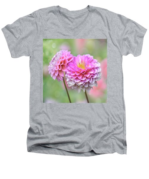 Men's V-Neck T-Shirt featuring the photograph Pompon Dahlias by John Poon