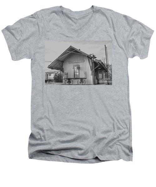 Pompton Plains Railroad Station And Baggage Cart Men's V-Neck T-Shirt
