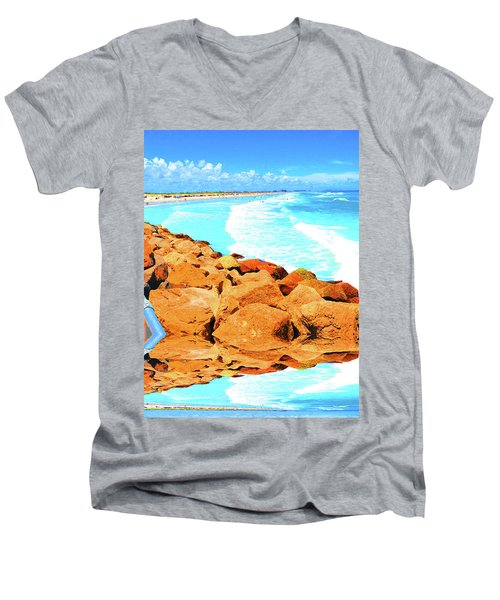 Ponce Inlet Jetty  Men's V-Neck T-Shirt