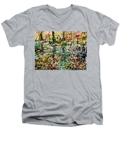Pond And Beyond Men's V-Neck T-Shirt by Alfred Motzer