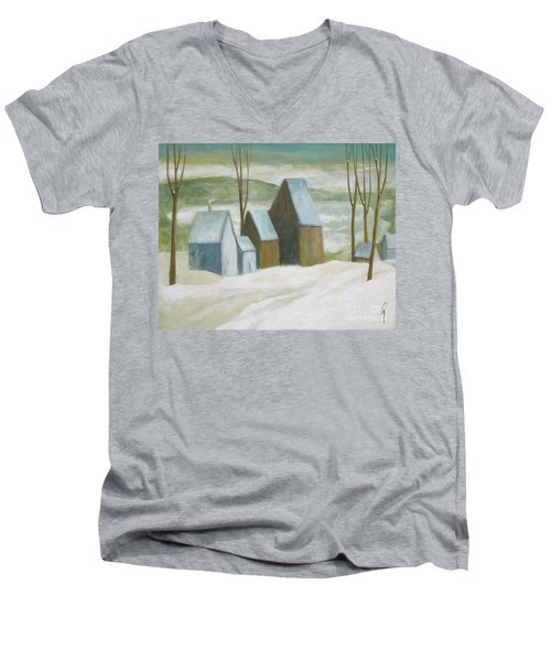 Pond Farm In Winter Men's V-Neck T-Shirt