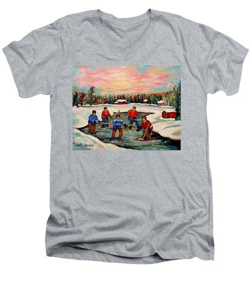Pond Hockey Countryscene Men's V-Neck T-Shirt