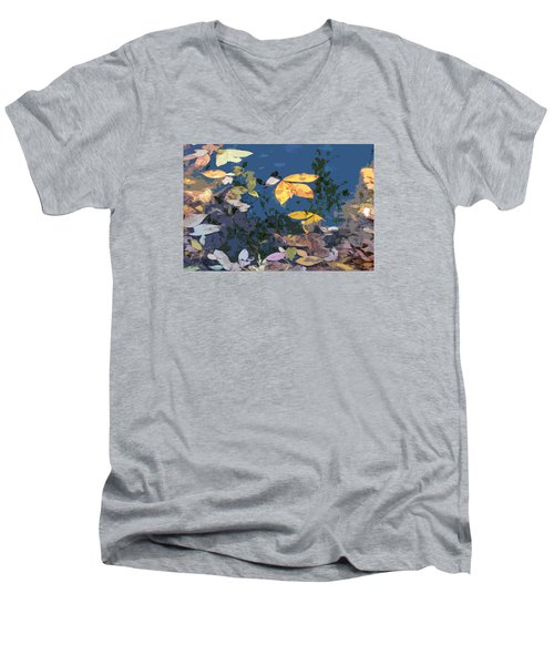 Men's V-Neck T-Shirt featuring the photograph Autumn Leaves On The Pond by Spyder Webb