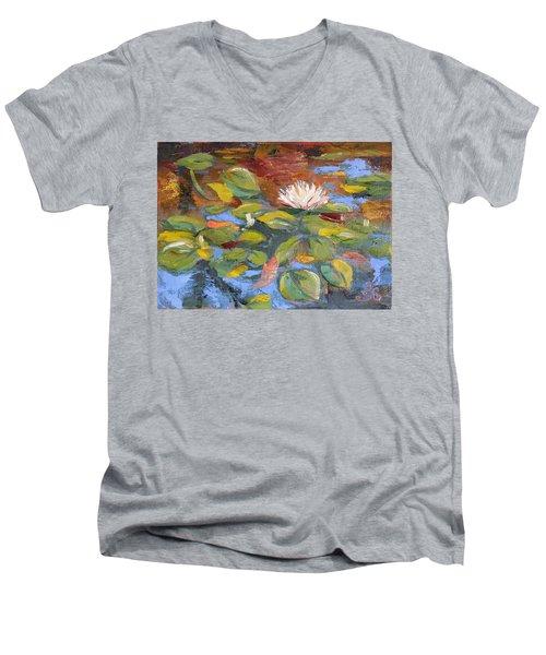 Pond Play Men's V-Neck T-Shirt by Trina Teele