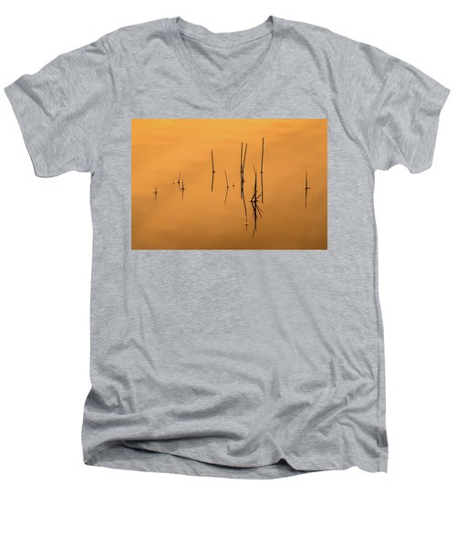 Pond Reeds In Reflected Sunrise Men's V-Neck T-Shirt