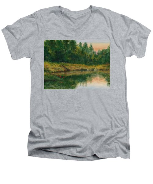 Pond With Spider Lilies Men's V-Neck T-Shirt