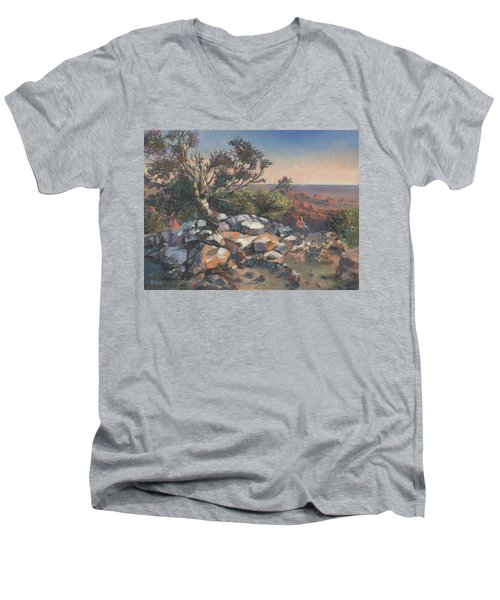 Pondering By The Canyon Men's V-Neck T-Shirt