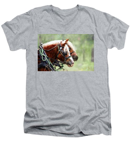 Ponies In Harness Men's V-Neck T-Shirt by Debra Baldwin