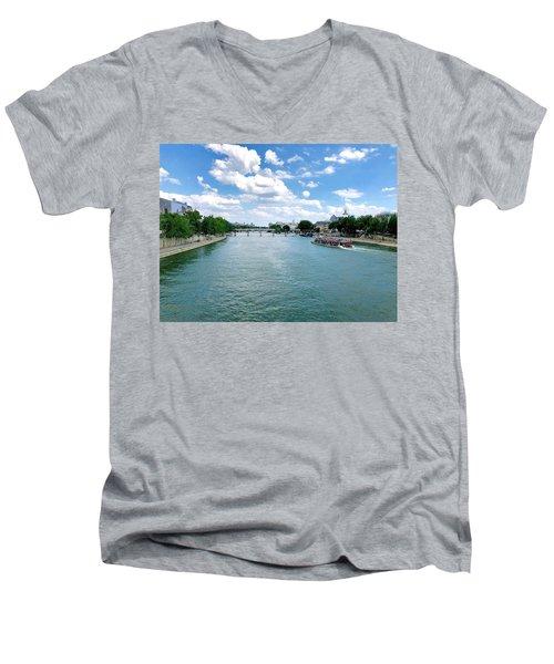 River Seine At Pont Du Carrousel Men's V-Neck T-Shirt