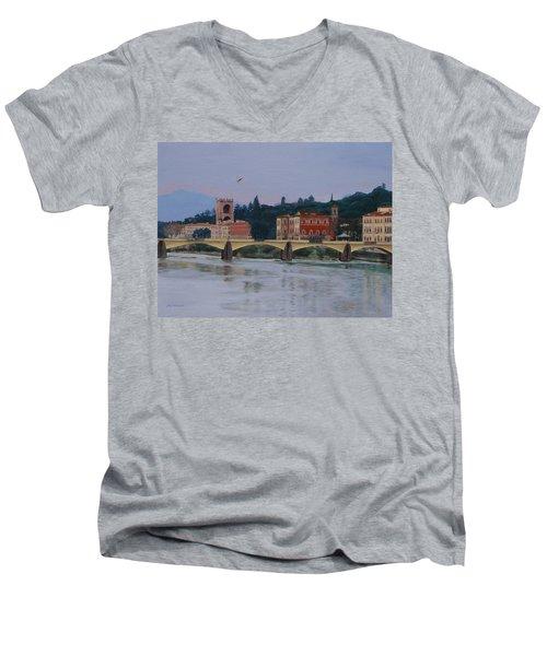 Pont Vecchio Landscape Men's V-Neck T-Shirt