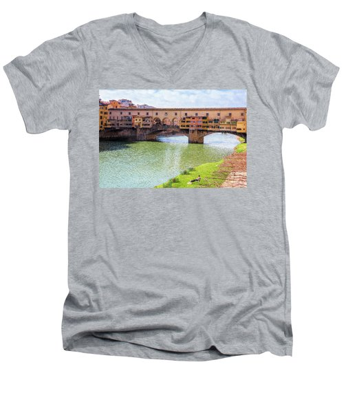 Men's V-Neck T-Shirt featuring the photograph Ponte Vecchio Florence Italy II Painterly by Joan Carroll