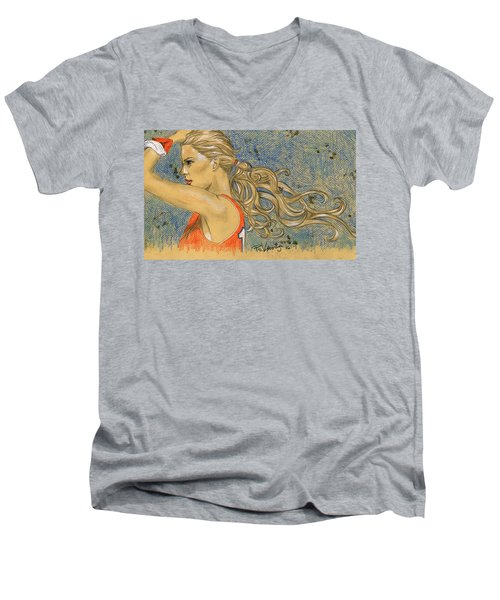 Ponytail Run Men's V-Neck T-Shirt