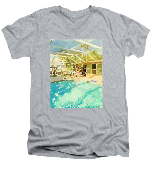 Pool And Screened Pool House Men's V-Neck T-Shirt