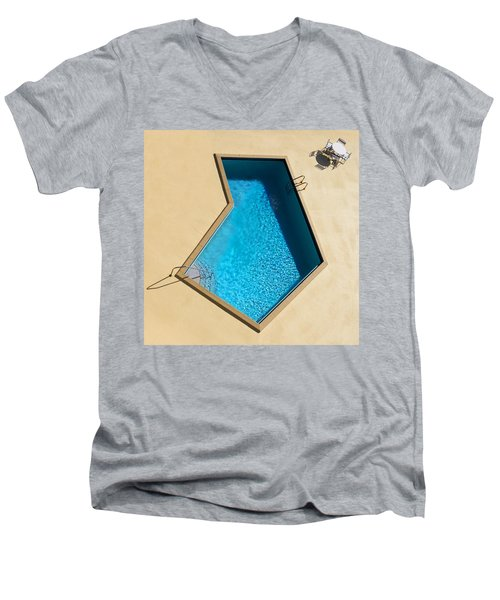 Men's V-Neck T-Shirt featuring the photograph Pool Modern by Laura Fasulo