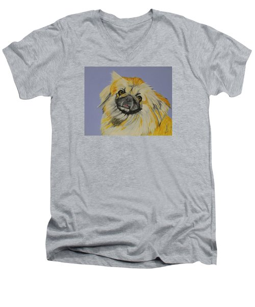 Poopan The Pekingese Men's V-Neck T-Shirt by Hilda and Jose Garrancho