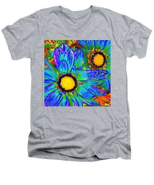 Pop Art Daisies 4 Men's V-Neck T-Shirt